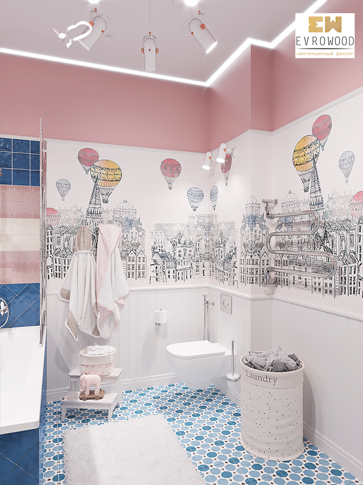 Интерьер-детской-ванной-комнаты-с-использованием-плинтуса,-модинга-и-стеновой-панели1